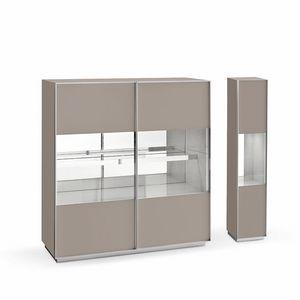 Miss A, Design Sideboard, in Glas und Aluminium, für Wohnzimmer