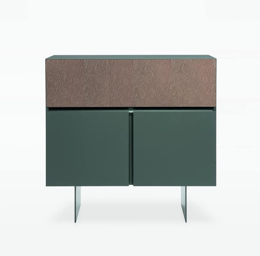 schrank mit 2 t ren und 1 klappt r im stil der 70er jahre. Black Bedroom Furniture Sets. Home Design Ideas