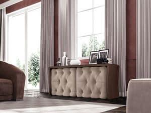 Wall Street Sideboard, Schrank mit gesteppten Türen gepolstert, für klassische Lounges