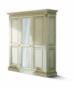 1477LQM, Drei Türen geschnitzte Garderobe mit Spiegel