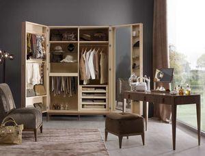 Ambrogio Garderobe, Kleiderschrank aus Holz, mit Innenspiegel