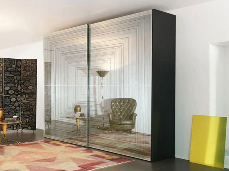 kleiderschrank mit schiebet ren mit glas ge tzt idfdesign. Black Bedroom Furniture Sets. Home Design Ideas