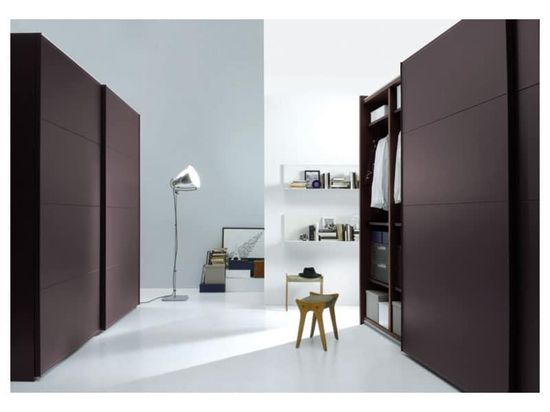 kleiderschrank mit schiebet ren in leder berzogen idfdesign. Black Bedroom Furniture Sets. Home Design Ideas