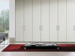 Schrank Itaca 14, Moderne Kleiderschrank mit integriertem Griff, Metallschmuck