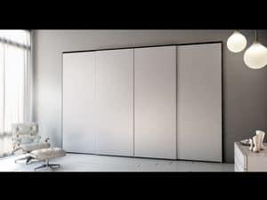 Armadio Zen 07, Kleiderschrank mit 4 Schiebetüren, elegant und modern