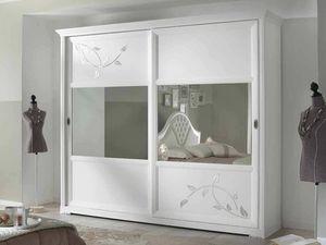 Camelia Kleiderschrank, Weißer Kleiderschrank mit Spiegelschiebetüren