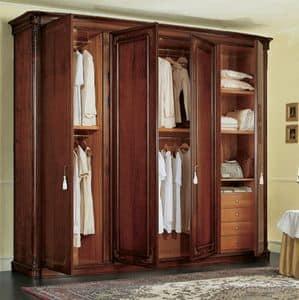 Gardenia Kleiderschrank, Klassische Nussbaum Schrank, mit gekrümmten Seitentüren