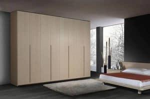 Kleiderschrank 22, Moderner Kleiderschrank aus Holz, 6 Flügeltüren, für Schlafzimmer