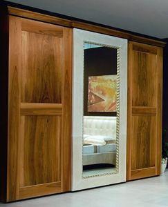 New '800 Kleiderschrank, Kleiderschrank mit verspiegelter Tür mit Lederschmuck