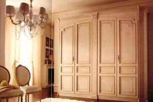 Rinascimento, Klassischer Kleiderschrank mit 4 Türen, mit Dekorationen lackiert