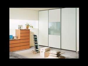 Schrank Coo 12, Moderne Kleiderschrank mit Fenster in der zentralen Tür