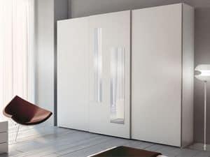 Schrank Zen 05, Kleiderschrank mit 2 vertikalen Spiegeln auf zentrale Tür