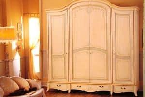 Tosca, Kleiderschrank mit 4 Türen mit 4 Schubladen für Hotels