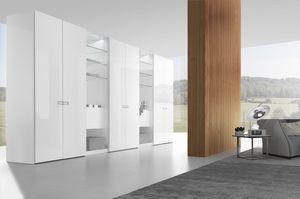 Kleiderschrank mit glatter und aufklappbarer Tür, Design-Schrank mit Klapptür und glattem Finish