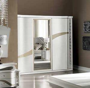 Mirò großer Kleiderschrank, Kleiderschrank mit Schiebetüren und zentralen Spiegel