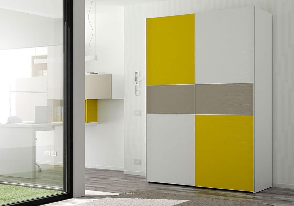 kleiderschrank mit t ren mit farbigen eins tzen und satiniert idfdesign. Black Bedroom Furniture Sets. Home Design Ideas