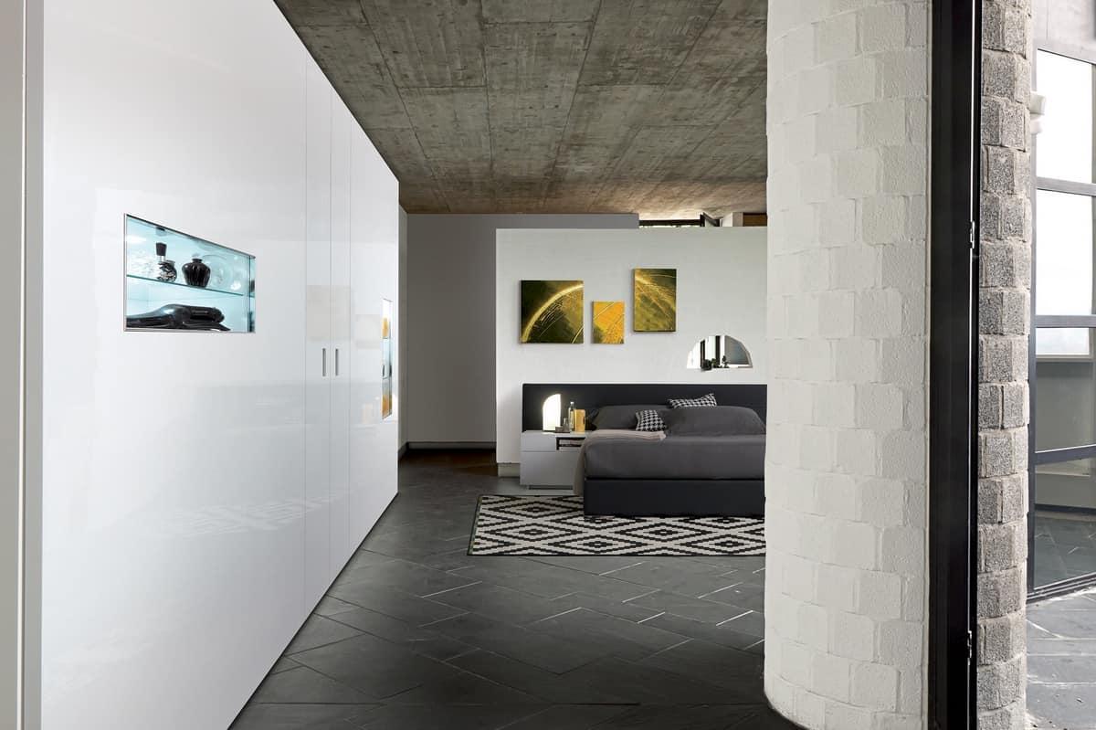 koplanarer design kleiderschrank mit vitrine mit lichter idfdesign. Black Bedroom Furniture Sets. Home Design Ideas