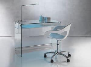 Art. 906 Desk, Schreibtisch mit einem sauberen Design, in trasnsparent Glas