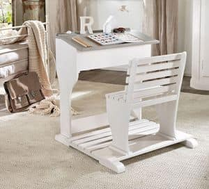 Beniamino Kind Schreibtisch, Ergonomischen Schreibtisch für ein Kind, in Holz, mit Bank