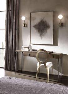 City Schreibtisch, Schreibtisch in Sperrholz, Metallbeine verjüngt