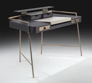 Flat, Schreibtisch mit Stahlbeine, Holz und Leder-Top