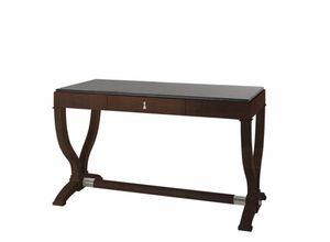 Heritage Schreibtisch, Holztisch mit Lederoberteil