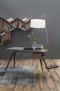 LOGOS, Schreibtisch mit Beinen aus Metall und Canaletto Nussbaumholz oben