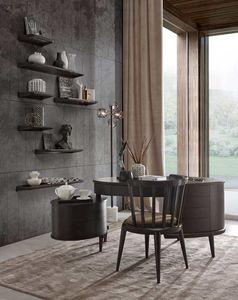 Maracanà Schreibtisch, Ovaler Schreibtisch mit Schubladen, in schwarzem Canaletto
