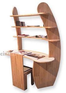 Schreibtisch Avvolgente, Holzschreibtisch mit Regalen