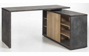 Schreibtisch in Grau und Eiche mit Schiebetür und CORE Schubladen, Schreibtisch in Eiche