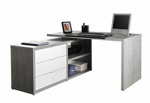 Schreibtischdesign mit seitlicher Erweiterung und Schubladen Weißer Effekt mit Betonung DIAGRAMM, Schreibtisch mit seitlicher Verlängerung