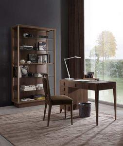 Sunrise Schreibtisch, Schreibtisch mit Schubladen und Ledertop.