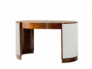 Victor Schreibtisch, Ovaler Schreibtisch mit Schublade, mit Ledersockel