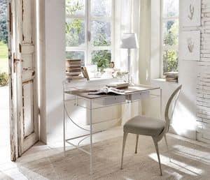 Zazà Schreibtisch, Schreibtisch mit gebogenen Stahlkonstruktion, Holzschubladen