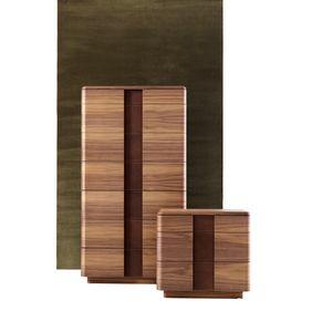 710802 York, Kommode mit sieben Schubladen, aus Holz und Leder