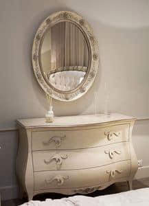 Rose Kommode, Kommode aus Holz mit floralen Intarsien, für Schlafzimmer