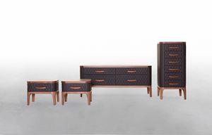 TIFFANY NIGHT, Schlafzimmerschränke in Holz und Leder