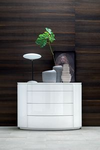 YNDRO, Ovale Kommode aus weiß lackiertem Holz