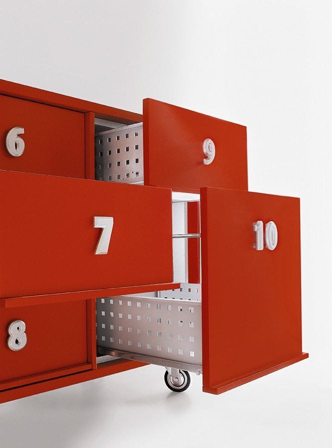 TOOLBOX comp.02, Behälter für Dokumente mit Rädern, für die Rezeption