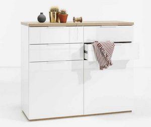 Weiße Kommode 4 Schubladen 2 Türen für Küchenschlafzimmer, Kommode in weißer Farbe