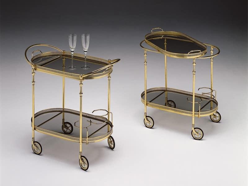 Trolley für Hotels, polierten Messingrahmen, Glasplatten | IDFdesign