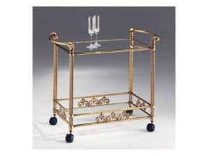 VIVALDI 1077, Trolley in antike Bronze Messing, Tischplatte aus Glas