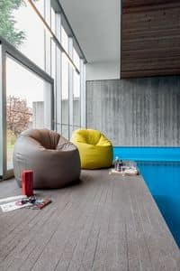 ASOLA, Sessel-Hocker mit modernen Linien voll gepolstert in Kunstleder