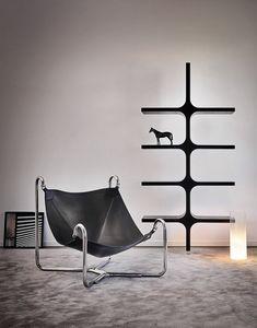 Baffo, Design Sessel aus Leder und Metall