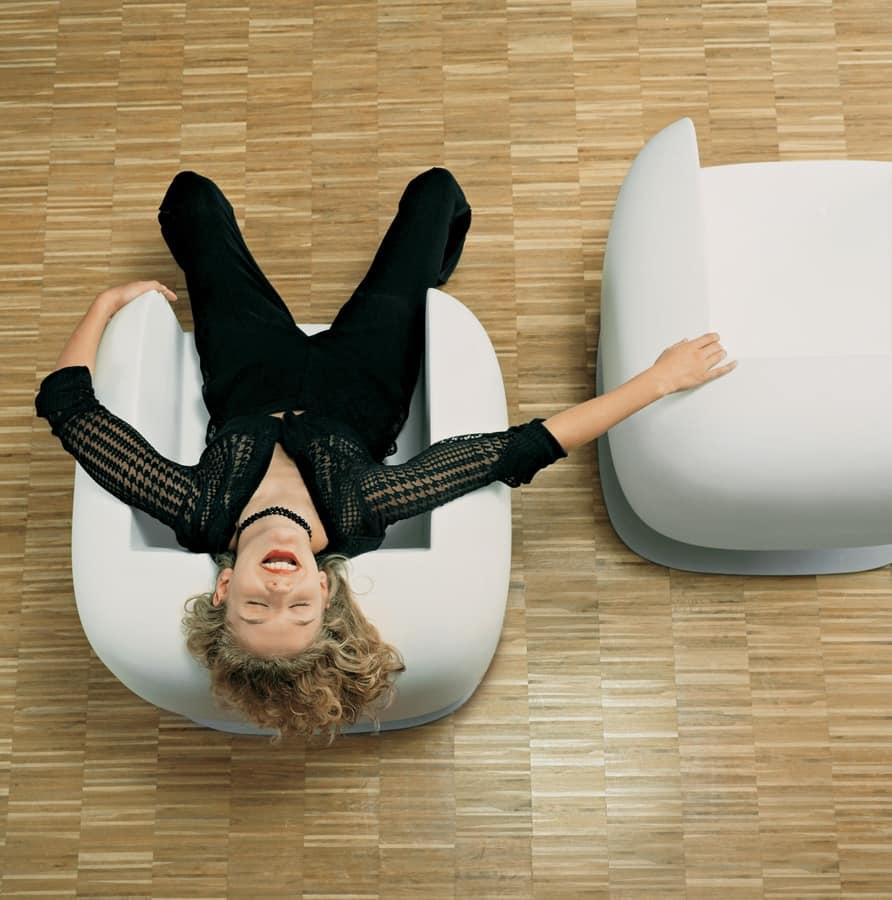 BIG JIM, Moderne Sessel in Einzelschale, in Polyethylen auf Stahlbasis