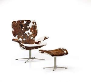 Clarke, Stuhl mit Hocker für Fußstütze, Lederpolsterung