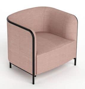 Place sessel, Sessel in Kunstleder überzogen, Metallrahmen