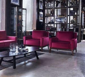 Contour poltrona lounge c/bra plxl, Moderner Sessel, gepolstert, für Wohnzimmer und Hotels