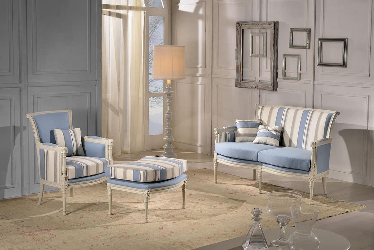 KELLY LARGE armchair 8042A, Klassischen Stil Sessel mit gepolsterten Hocker