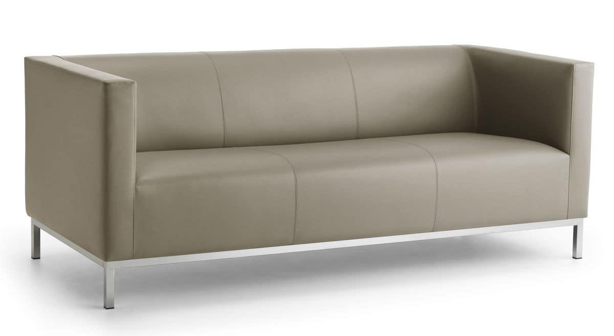 Linear sofa 3 sitzer gestell aus verchromtem stahl idfdesign Sofa quadratisch